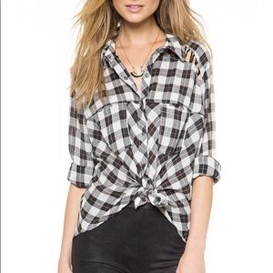 Free People plaid button down top